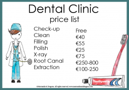 Dental clinic price list