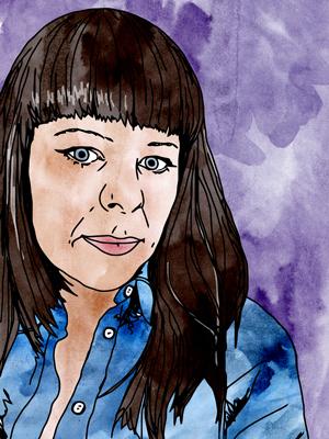 Hand-drawn, self-portait of Nadia Cruikshanks