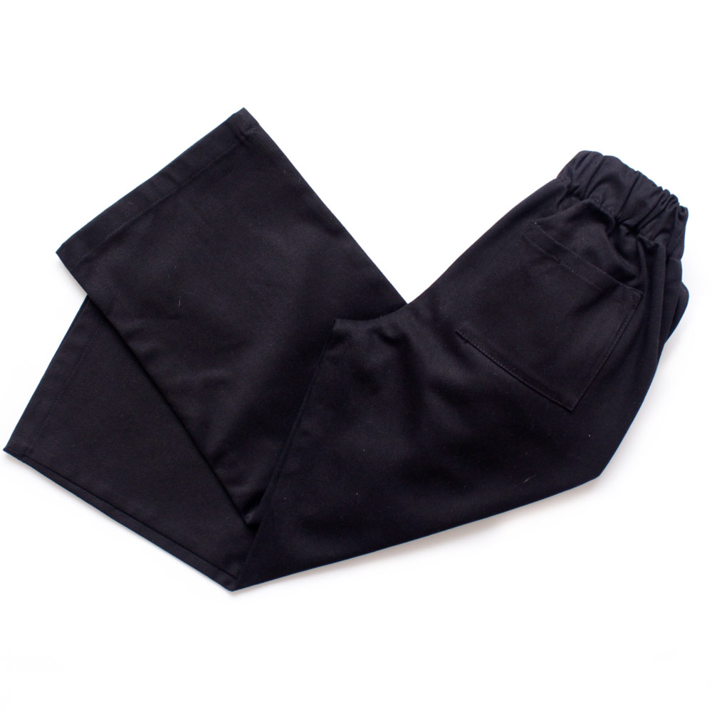Childrens black cotton twill chef trousers with elasticated waist