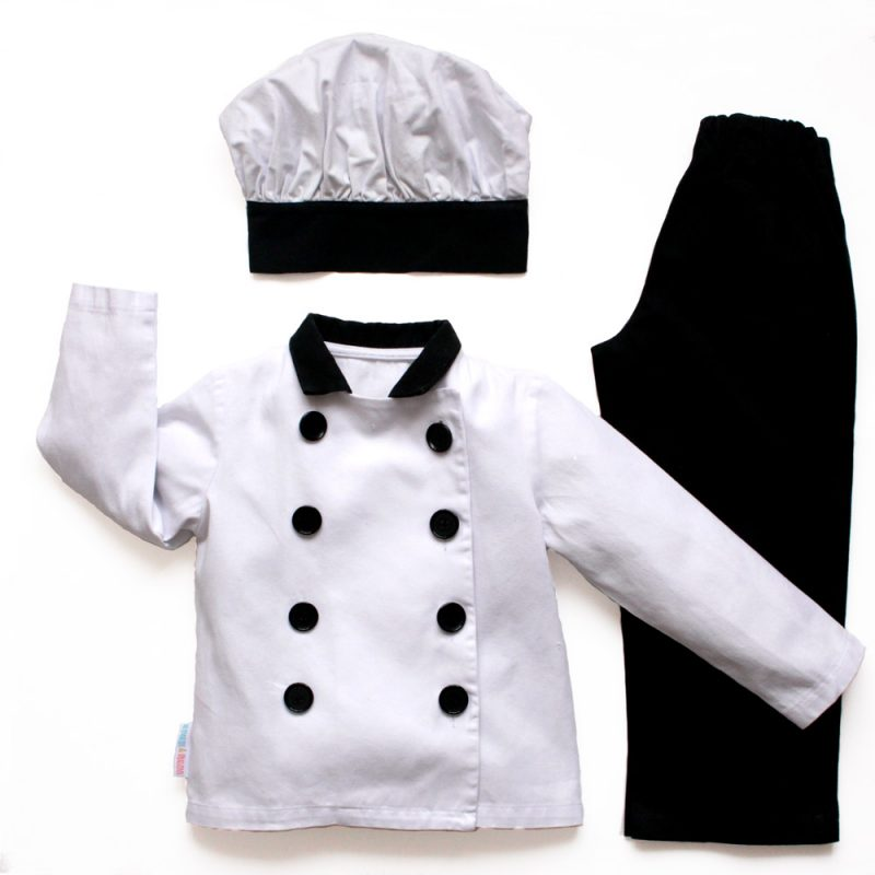 Childrens 3 piece chef uniform including black trousers, a white cross over jacket with black trim and a white mushroom hat with black band