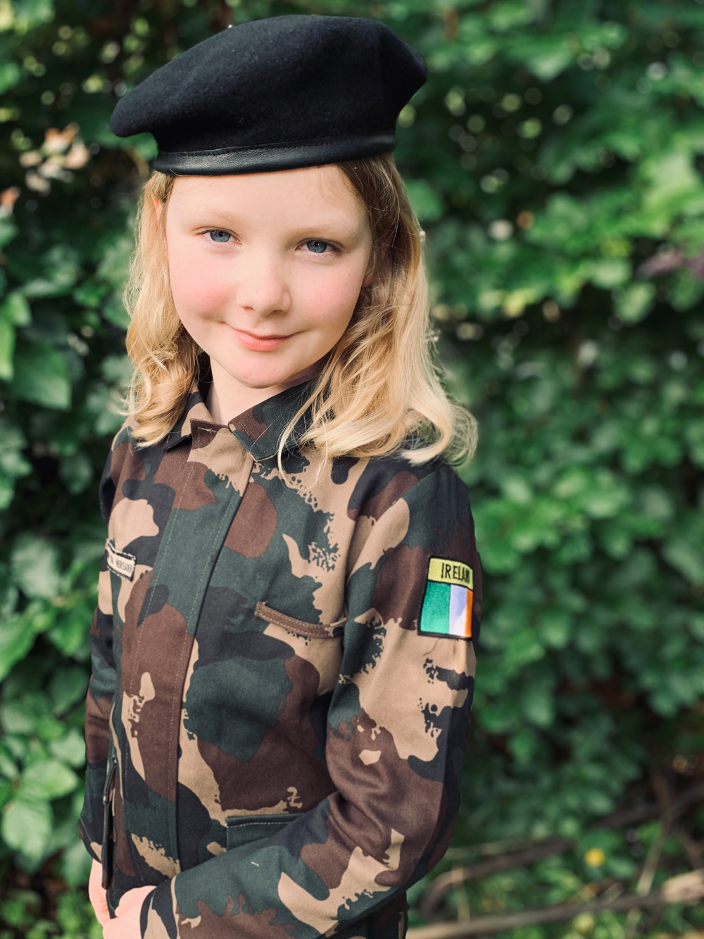 Camouflage Irish Army uniform being worn by a young girl