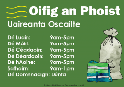 Post Office opening hours as gaeilge