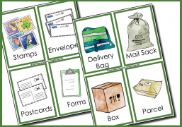 Post office flash cards for dramatic play