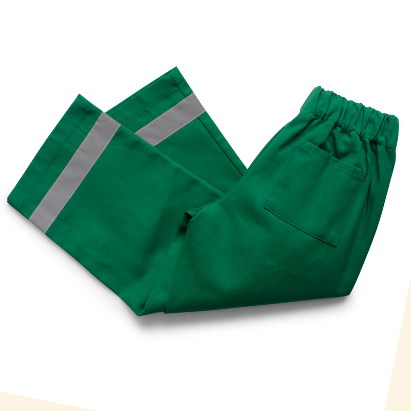Childrens green cotton twill paramedic trousers with elasticated waist