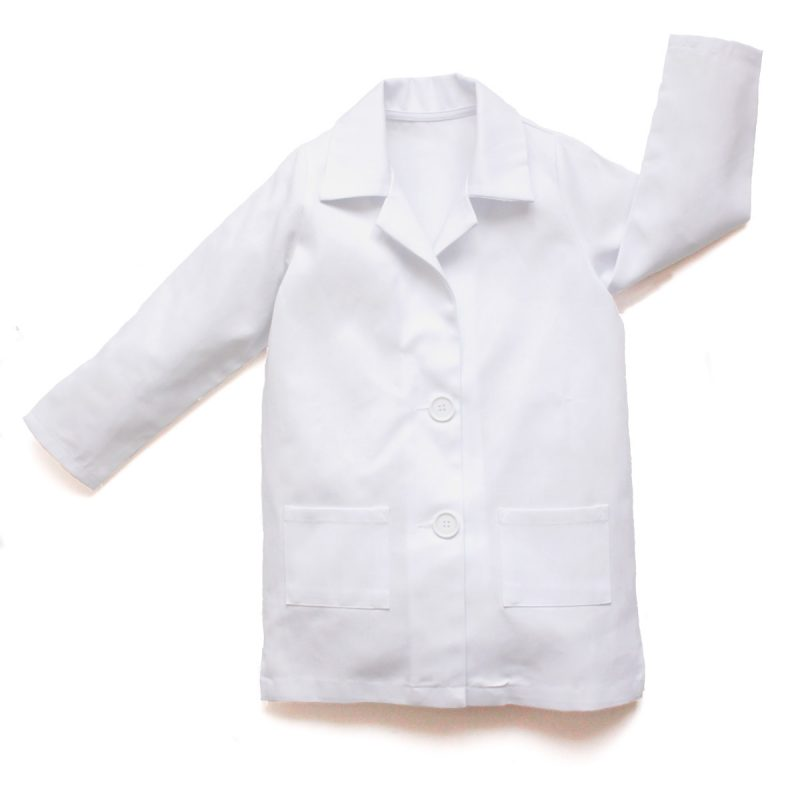 A flatlay image of a long sleeved children's white lab coat made with heavy weight white cotton twill and featuring a turn down collar and 2 front pockets