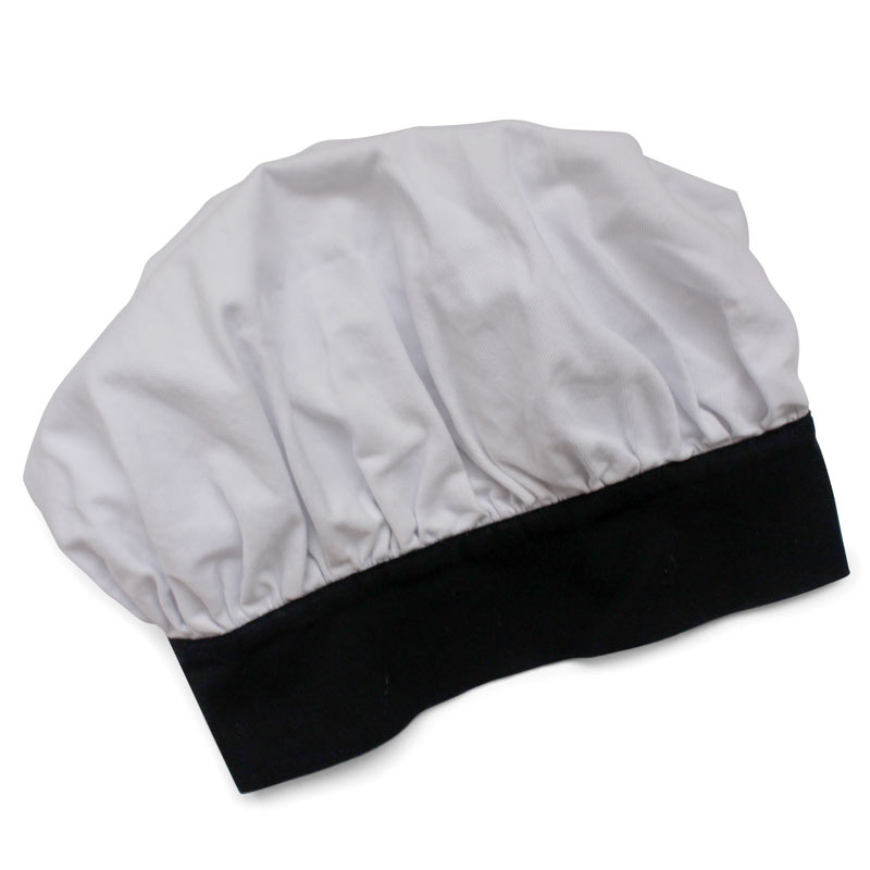 Childrens white cotton twill chef's mushroom cap with black band and velcro closure