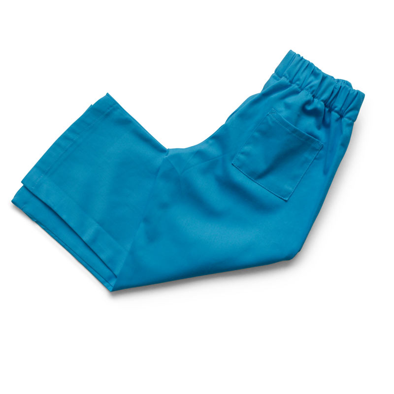 Childrens blue cotton twill scrubs trousers with elasticated waist