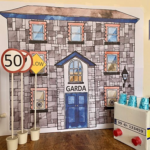 Large format wall poster of a Garda Síochána station for dramatic-play