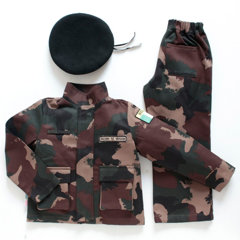 a flatlay of a 3 piece Irish army costume for children